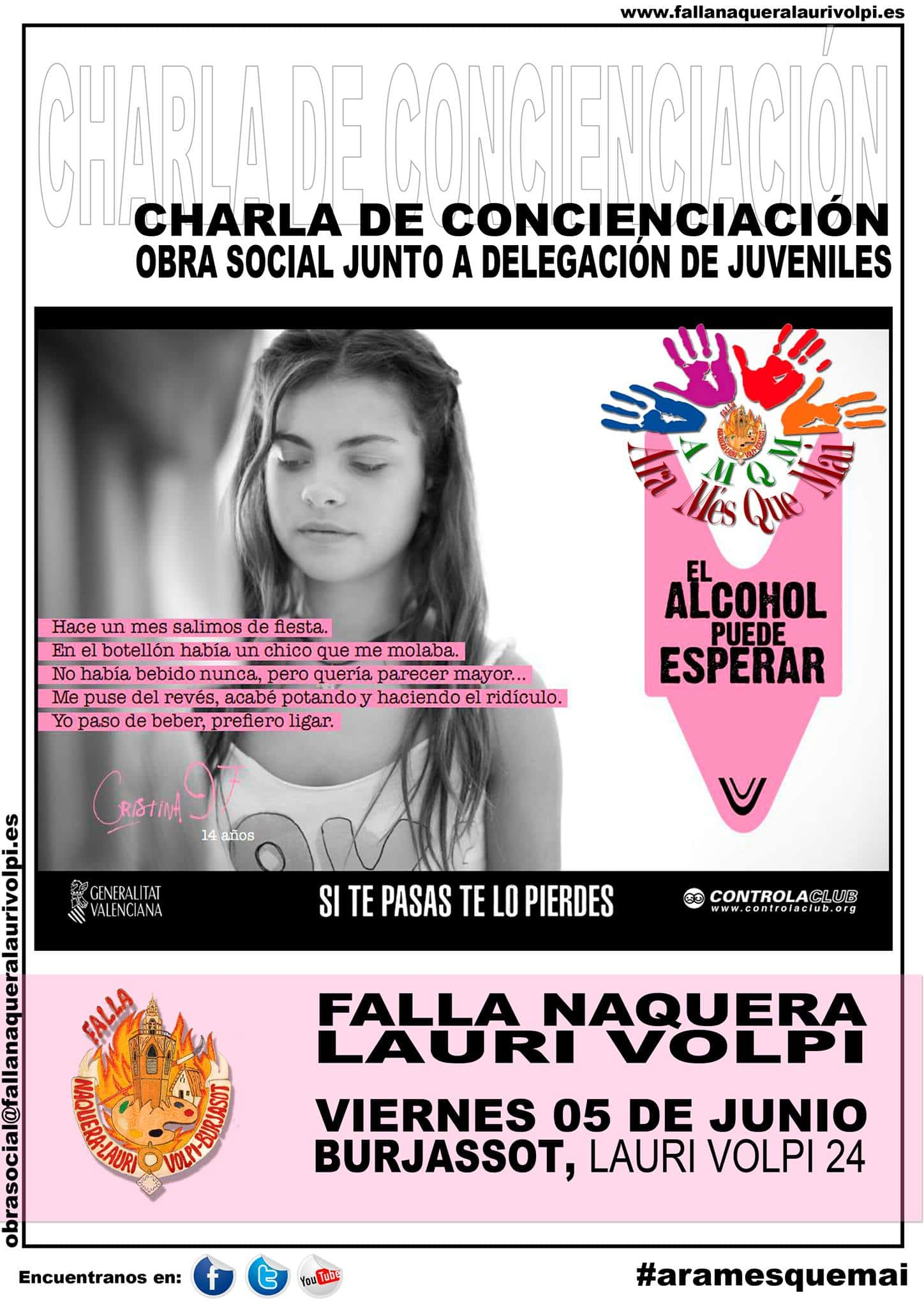 Talk of awareness in charge of the ONG CONTROLACLUB in the Falla Naquera Lauri Volpi