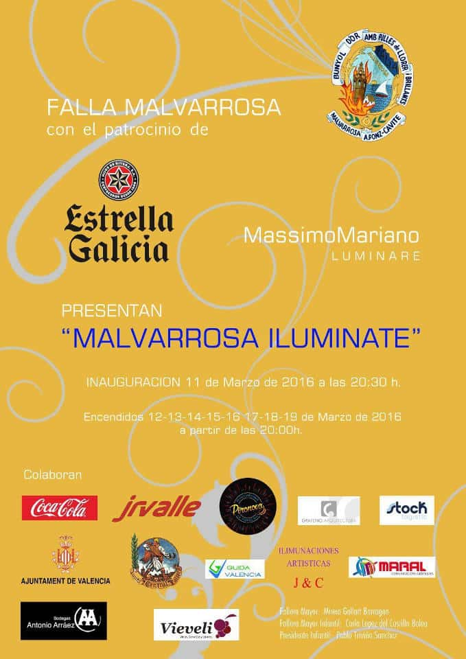 La Malvarrosa Falla illuminates the sea 5