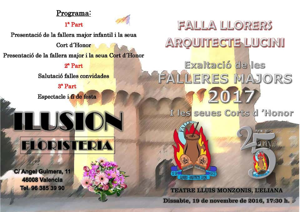 Exaltation major fallers of the Llorers-architect Lucini Falla for the 2017 Fallas