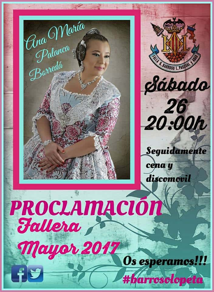 Proclamation of the Fallera Mayor of the Falla General Barroso for the 2017 Fallas