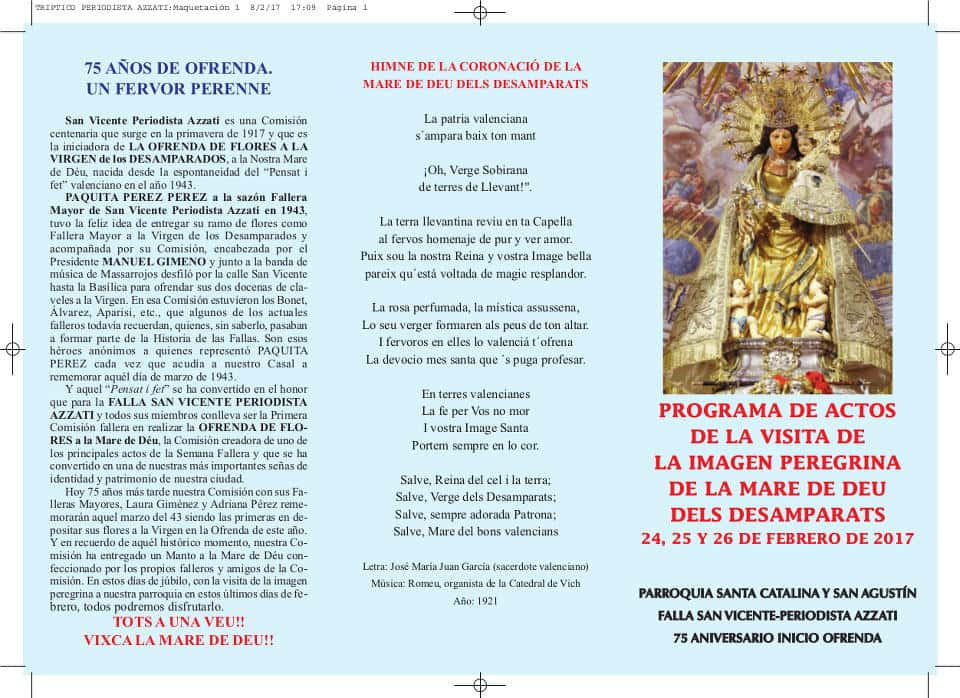 The Pilgrim image will visit Casal Xe and the San Agustin Church between 24 and 26 February 2