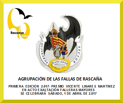 First edition of the Premio Vicente Linares Martinez awarded by the Association of Fallas of recogni