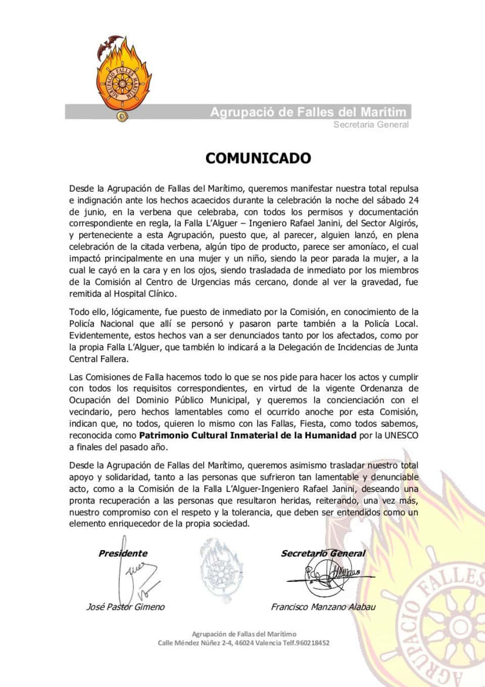 Press note of the Grouping of Fallas of the Maritime incidents in the Falla L'alguer 1