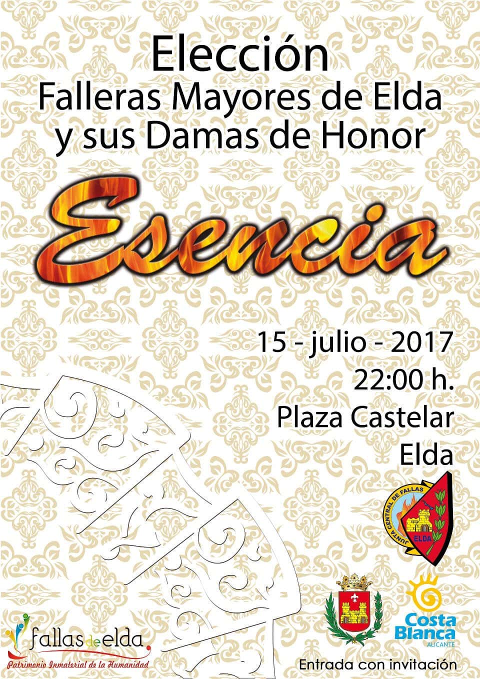 Choice of the Falleras Mayores of Elda and her Ladies of Honor to the Fallas 2017