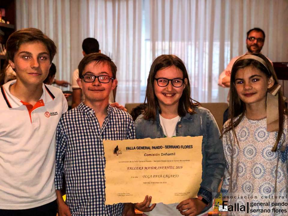 Representatives for Children of the General Falla Pando for Fallas 2019 2