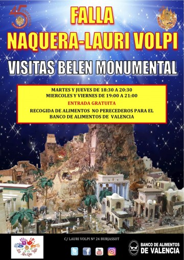 Visit the Bethlehem of the Falla Náquera-Lauri Volpi and collaborating with Food Bank of Valencia