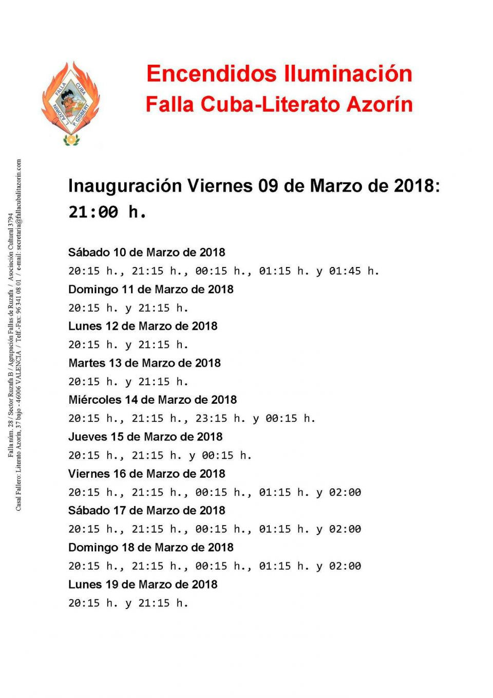 Encendido Luces Falla Cuba 2018